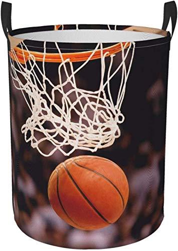 Cesta redonda del organizador del compartimiento de almacenamiento portátil circular del papel pintado del baloncesto para el cesto de la ropa