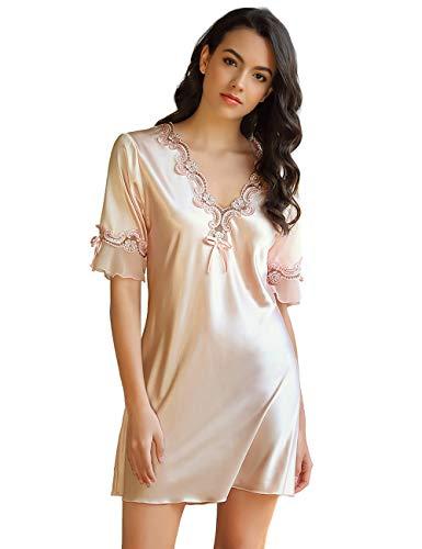 ohyeahlady Vestido de Pijama Satén para Mujer Verano Camisón de Seda Picardías Sexy Satén Tallas Grandes