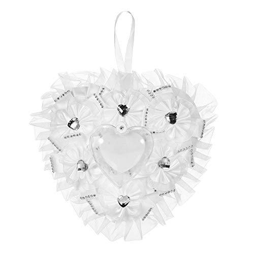 Funien Portador de Anillo, 7 * 7 Pulgadas Corazón de satén Blanco Almohada para Portador de Anillo de Boda Suministros de decoración para Ceremonia de Boda