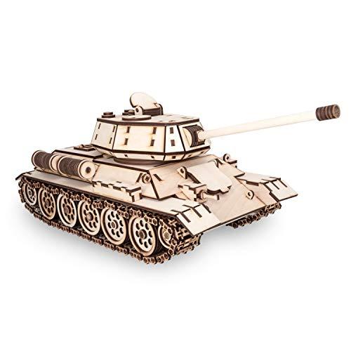 EWA Eco-Wood-Art-Tank Tanque T-34 T-34-Rompecabezas mecánico 3D de Madera-Rompecabezas para Adultos y Adolescentes-Montaje sin pegamento-600 Piezas, Color Naturaleza