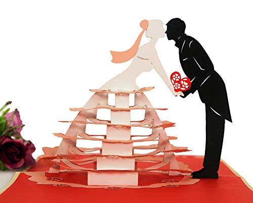 Cupopup Pop-up-Grußkarte zum Hochzeitstag, perfekte Details, voller Liebe und Glück, tolle Wahl für Liebhaber, Familie, Ehemann oder Ehefrau, zum Valentinstag Pop-Up-Karte für Bräutigam und Braut