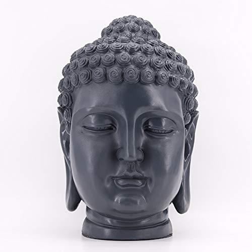 dasmöbelwerk XL Buddha Deko Kopf Figur Feng Shui wetterfest frostfrei Gartenfigur 52 cm S081 grau