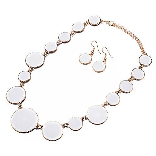 DL DiLiCa Women Statement Bib Necklace and Earring Set Girl Charm Costume Choker Novelty Enamel Jewelry Set White