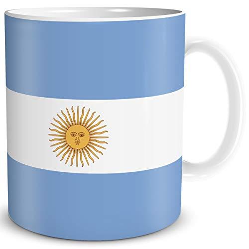 TRIOSK Tasse Flagge Argentinien Länder Flaggen Geschenk Südamerika Souvenir Argentina für Reiselustige Frauen Männer Arbeit Büro Weltenbummler