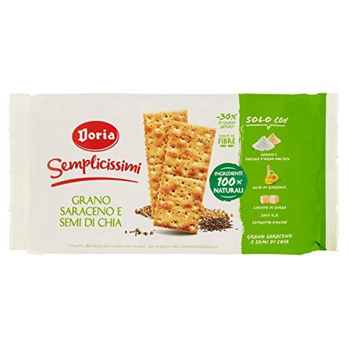 Doria - Semplicissimi Cracker Grano Saraceno e Semi di Chia - Ingredienti 100% Naturali - Confezione da 8 Pacchetti