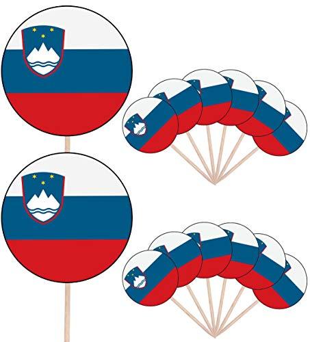 Slovenië Vlag Partij Voedsel Cake Cupcakes Picks Sticks Vlaggen Opstaan Decoraties Toppers (Pack van 14)