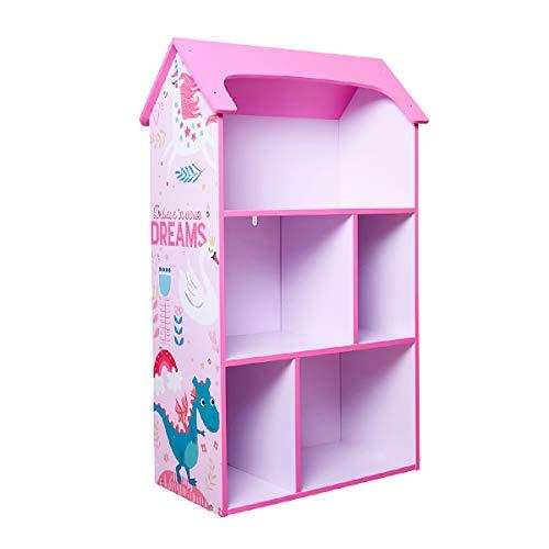 "Toffy & Friends Wooden Bookshelf for Kids Pink Bookcase, Dollhouse KidsRoomOrganizer Environmentally Friendly UV Paint Non-Toxic Lead Free 21×10.6×36"" (Swan Series)"