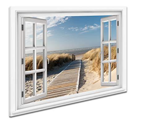 Ayra- Leinwandbild Wandbild Fensterblick Keilrahmenbild Strand Nordsee Meer- fertig gerahmt! kein Poster (80x60cm, E)