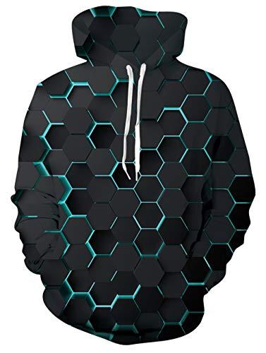 UNIFACO Unisex 3D Hoodie Herren Damen Hoodie Bunt Lustig Gedruckt Kapuzenpullover Langarm Sweatshirt für Frauen Männer