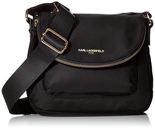 Karl Lagerfeld Paris Damen Flap Cara Crossbody-Tasche mit Klappverschluss, Nylon, schwarz/gold, Einheitsgröße