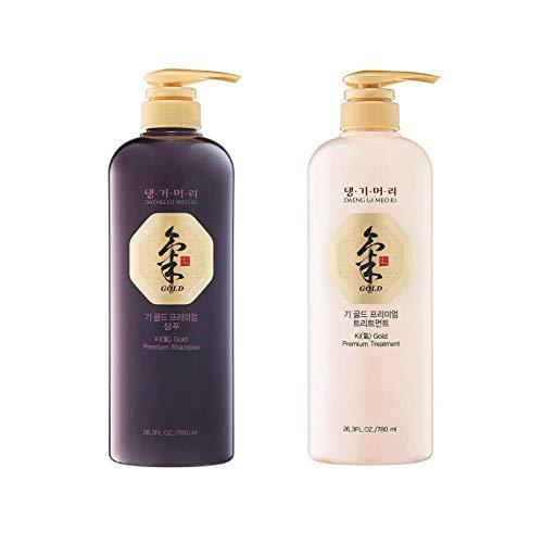 Daeng Gi Meo Ri - Ki Gold - Premium Shampoo + Treatment Set for Hair Loss, Thin Hair, Gray Hair Prevention and Treatment, Medicinal Herbal Shampoo, All Natural, Korea