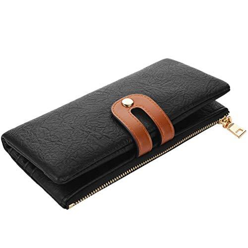 VBIGER Geldbörse Damen Geldbeutel Groß Damen Portemonnaie Kunstleder RFID Schutz Lang Brieftasche mit mehreren Kartenfächern und Handyfach Schwarz