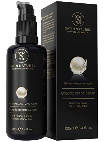 ORGANIC Retinol Serum -100ml Bottle 3x LARGER Advanced 3% Retinol Delivery System + 25% Vitamin C Complex w/Aloe Vera, Hyaluronic Acid, & Vitamin E - Anti-Aging Vegan Skin Care Made in Germany