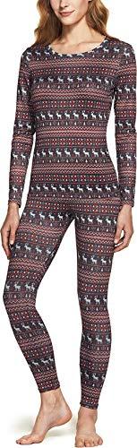 TSLA Women's Thermal Underwear Set, Soft Fleece Lined Long Johns, Winter Warm Base Layer Top & Bottom, Thermal Set(whs200) - Christmas, Medium