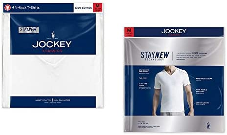 Jockey Mens V-Neck T-Shirts Classic Tag Free Cotton Stay New Technology Stay White
