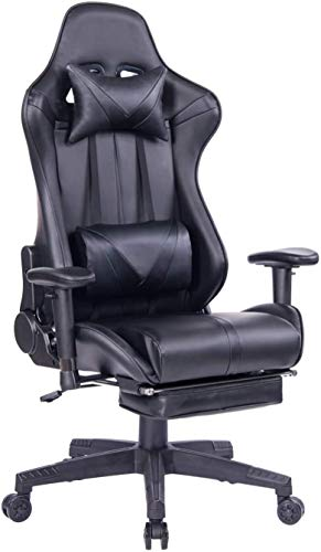 Blue Whale Massage Gaming Chair - Big and Tall 350lbs High Back Racing Computer Desk Office Chair Swivel Ergonomic Executive Leather Chair with Footrest and Adjustable Armrests, Black