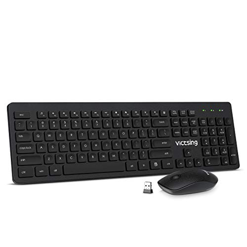 VicTsing Wireless Keyboard and Mouse [Whisper Quiet], 2.4GHz Wireless Keyboard Mouse Combo, Computer Keyboard and Wireless Mouse, USB Unifying Receiver, for PC Computer Laptop Windows iMac,Black