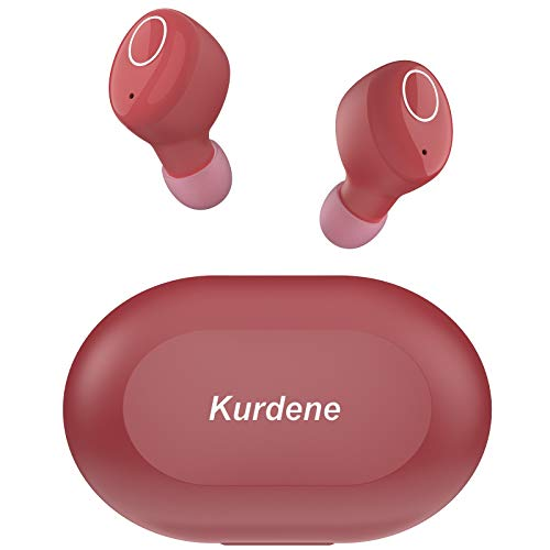 Bluetooth Earbuds,Kurdene Wireless Earbuds with Charging Case IPX8 Waterproof Bluetooth Headphones Bass Sound Earphones with Mics Touch Control in-Ear Headset for Sports,Home-Burgundy