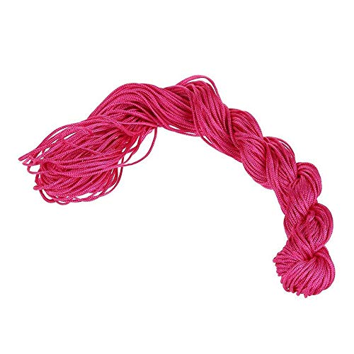 Cordón de nailon con nudo chino de 1 mm, cuerda de cordón, macramé, cuerda trenzada, 25 m, color rojo rosa, ecológico y práctico