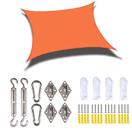 ALXLX Sun Shade Sail Rectángulo Toldo Toldo 95% UV Bloqueo Agua Permeable Permeable Residencial para Patio Yard Pergola Garden Outdoor (Color : Orange, Size : 3x5m)