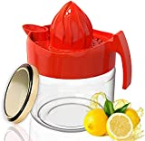 WisyLLC - Spremiagrumi al limone, spremiagrumi manuale con misurino e macinino multifunzione e realizzato in plastica di alta qualità e materiale in vetro (300 ml) (rosso)