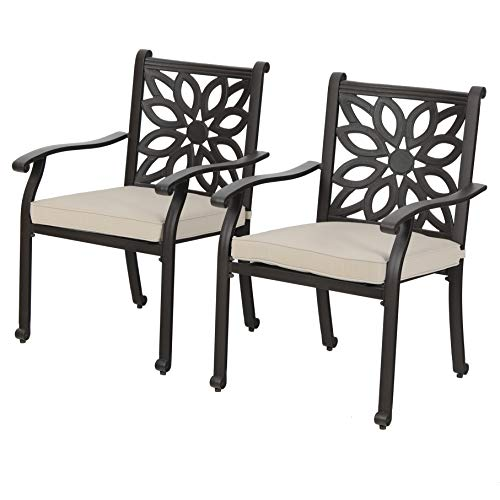 PHI VILLA Outdoor Patio Cast Aluminum Extra Wide Armrest Dining Chairs with Cushion Set of 2 - Frosted Surface