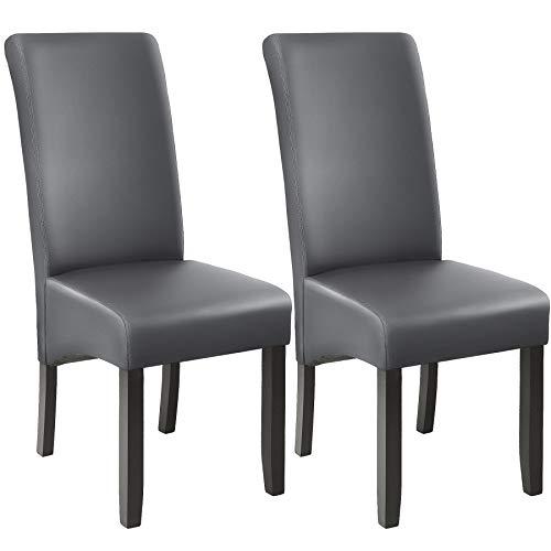 TecTake 403590 Esszimmerstühle 2er Set, Höhe: 106 cm, Holz, grau