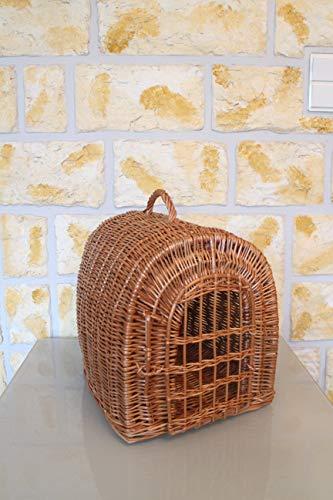 Marcus Katzentransportkorb aus Weide mit Kissen Weidenkorb Katzenkorb Tierkorb Käfig Transportkorb für Katzen Hund Katzenhöhle Natur Braun