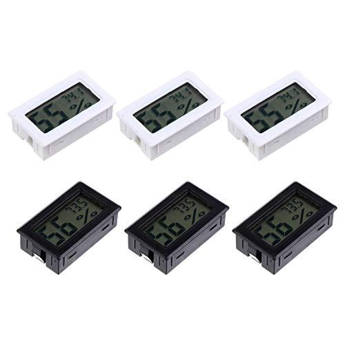 ULTECHNOVO 6Pcs Mini Digitales Elektronisches Thermometer LCD-Display Temperatur Luftfeuchtigkeitsmesser Messgerät Innenthermometer Hygrometer für Gewächshaus Haustier Reptilien Inkubator
