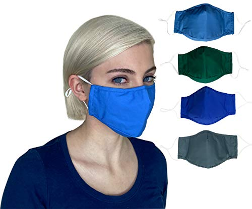 Cloth face Masks Washable Reusable, Breathable Cotton face Masks for Women, Men, 3 layer Cotton with Nose Wire, Filter Pocket, Adjustable Ear Loops, 4 Layer 3D Fabric face mask (Adult, 4-Pack)