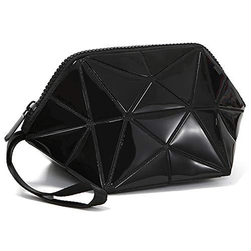 YXZN Sac de cosmétiques Mode Portable Géométrique Trois Dimensions Rhombique Coin Bourse Sac À Main Sacs De Stockage,Black,23.5X12X12CM