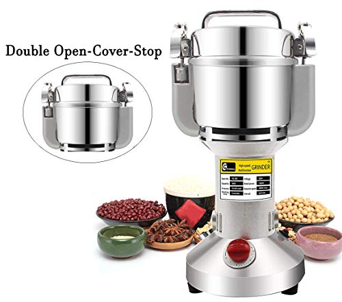CGOLDENWALL Upgraded Electric Grain Grinder Mill High-speed Spice Herb Mill Commercial powder machine Cereals Grinder CE (700g Hand-held Type)