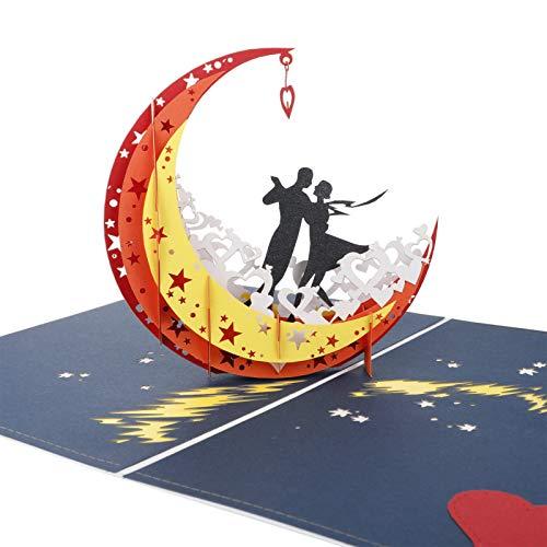 QINREN 3D Hochzeitskarte Pop Up Karte mit Umschlag, Romantik Paar Liebhaber Grußkarten Glückwunschkarte Einladungskarte für Valentinstag Hochzeit Jahrestag