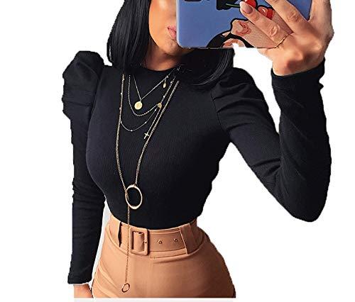 SLYZ Moda Femenina Europea Y Americana Sexy Slim Fit De Una Pieza Cuello Redondo Manga Abullonada Suéter De Manga Larga para Mujer