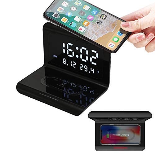 Digital Alarm Clock with Wireless Charging & LED Time,Creative Qi Wireless Phone Charging Station with Digital Alarm Clock 10W,Compatible with iPhone 11pro 11 Pro MAX XS X MAX XR X 8 8Plus (Black)