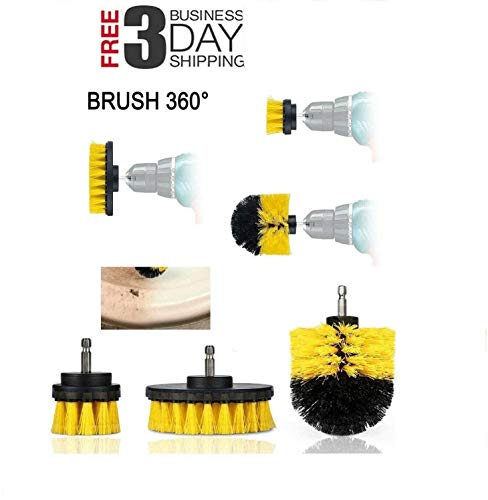 TSSPLUS Brush Set Power Scrubber Drill Attachments For Carpet Tile Grout Cleaning,Buffing Pads,Power Scrubber Brush with Extend Long AttachmentCar Polishing Pad Kit