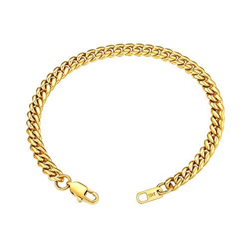 GoldChic Cubano Miami Pulsera de Hombre Mujer, 6mm 10mm 14mm de ancho, 19cm 21cm de Largo, color Plateado Negro Dorado(18K oro chapado)