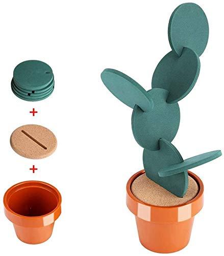 Set Sottobicchieri Vinile Moltifunzione Pad Isolamento in Tazza Tampone Isolamento Caldo Tazza in Vaso di Cactus Supporto Forma Vaso di Fiori 6 Pezzi per Decorato Cucina Salone Tavolo Bar