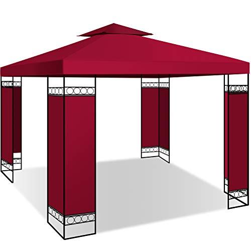 KESSER® - Pavillon 3x3m wasserabweisend UV-Schutz 50+ Metall Gestell Partyzelt Gartenzelt Luxus Gartenpavillon 9m² Festzelt, Rot