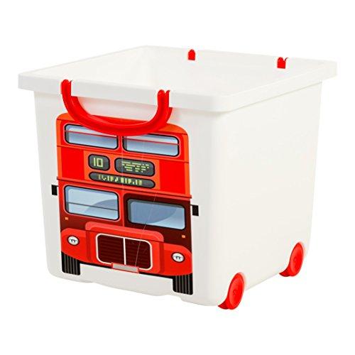 Iris Ohyama, Grande boîte de rangement pour jouet sur roulette design - Smiley Kids Boxes - KCBNS-32, Bus londonien, 25 L, 32 x 33 x 29 cm