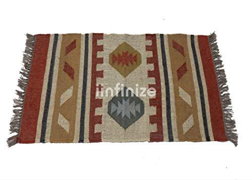 iinfinize – 5,1 x 0,9 m Wolle, Jute-Teppich, handgewebt, für drinnen und draußen, Kilim-Teppich, Bodenläufer, wendbar, rechteckige Form, Fußmatte, Dhurrie, Yogamatte, Küche, Dekorativer Überwurf