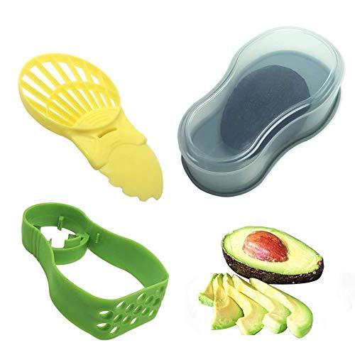 Avocado Werkzeug Set für Küche, Avocadoschneider, 5 in 1 Obst Schneider & Avocado Saver, Küchenschneider, Aufbewahrungsbehälter, Schaufel und Mash, inklusive Avocado Sparer, Avocado Fresh in Haushalt