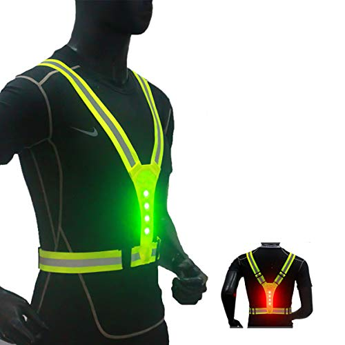 NeatTimes LED Reflective Harness Vest USB Rechargeable for Running Cycling Hiking in Night Sport, Make You Visible,Safe & Seen, Size Adjustable for Men and Women