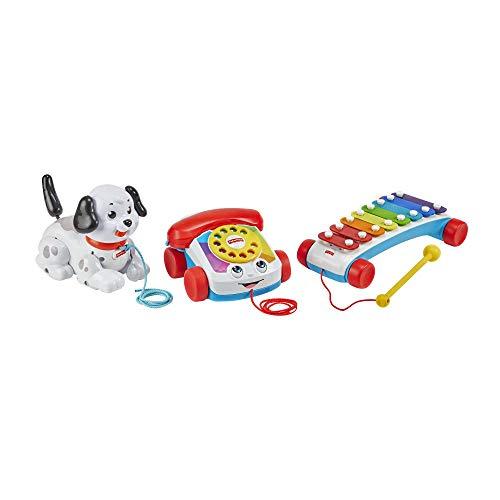 Fisher-Price coffret cadeau Mes 3 Premiers Jouets pour bébé à Tirer, xylophone, téléphone animé et chien Snoopy, 12 mois et plus, GVF68