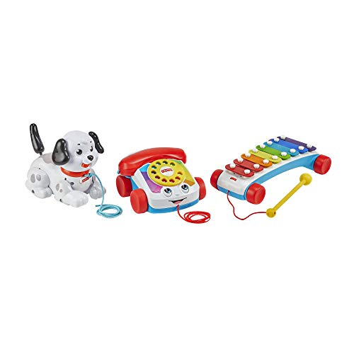 Fisher Price Pull Along Basics Gift Set 3 Classic Pull Toys for Infants and Toddlers Ages 12 Months and Older Amazon Exclusive