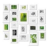bomoe Juego de marcos de fotos múltiples para la pared Collage Nature - 24 piezas - Con paspartú - Blanco - 10x 10,5x15cm / 8x 13x18cm / 4x 15x20cm / 2x 20x30cm