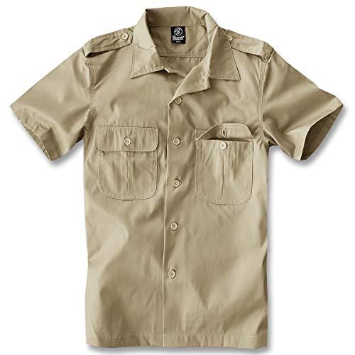 Brandit US Hemd Kurzarm Camisa, Beige, XXL para Hombre