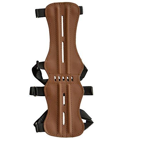 elToro Armschutz Traditionell Lang 32 cm Glattleder hell ;Zubehör für Bogenschießen, Pfeil und Bogen, Bogensport