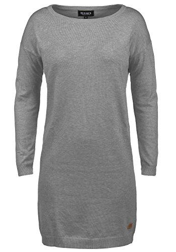 DESIRES Ella Damen Strickkleid Feinstrickkleid Kleid Mit Rundhals, Größe:M, Farbe:Grey Melange (8236)