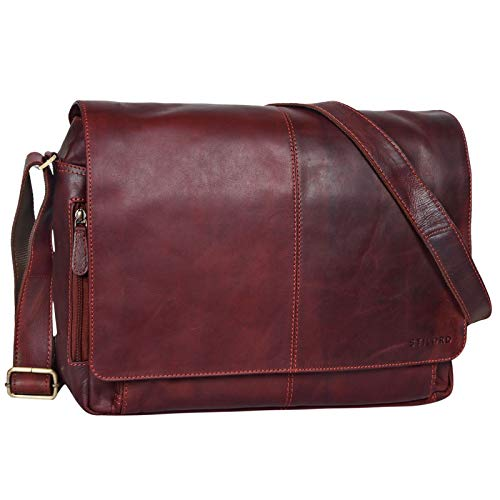 STILORD 'Alex' Vintage Ledertasche Männer Frauen Businesstasche zum Umhängen 15,6 Zoll Laptoptasche Aktentasche Unitasche Umhängetasche Leder, Farbe:Rosso